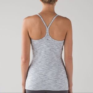 Lululemon Power Y Tank Top Striped Grey White